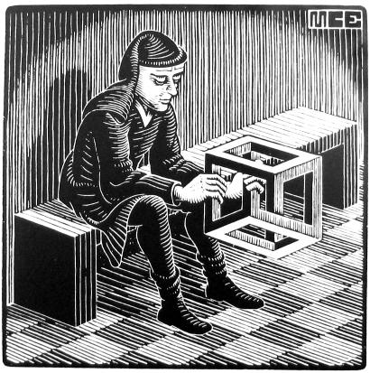 "=M.C. Escher ""Man with Cuboid"""